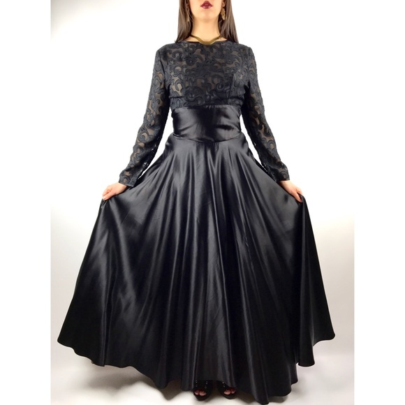 Vintage Dresses | Black Lace And Satin Gown By Alchemy | Poshmark